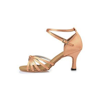 Scarpe da ballo-Non personalizzabile-Da donna-Balli latino-americani-A stiletto-Raso-Marrone nude