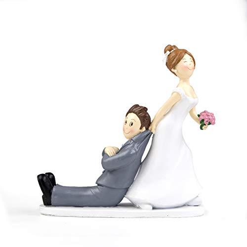 Mopec Y967 - Figura de pastel de boda novios sí o sí tirando de la chaqueta, 19 cm