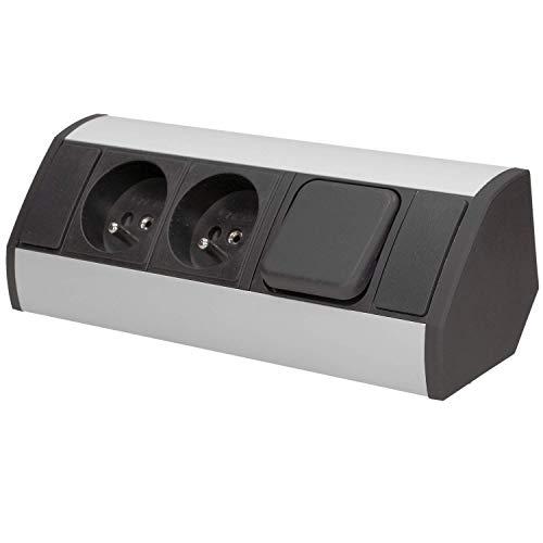Orno OR-GM-9002/B-G - Enchufe esquinero interruptor