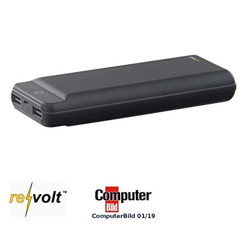 reVolt USB Akku: USB-Powerbank im Slim-Design, 20.000 mAh, 2 USB-Ports, 2,4 A, 12 Watt (Handy Powerbank) Slim-port