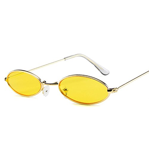 KHKJ Small Oval Sunglasses for Men Male Retro Metal Frame Yellow red Vintage small Round Sun Glasses for Women 2019