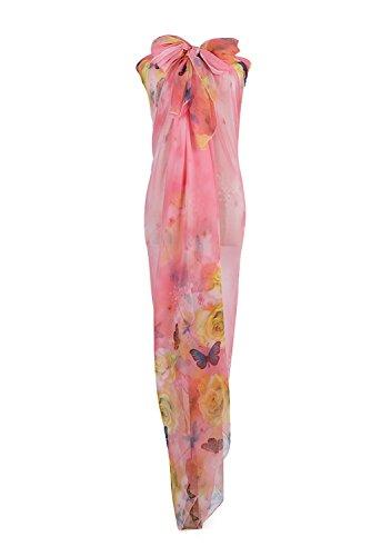 PB-SOAR XXL Damen Fashion Sarong Pareo Strandtuch Wickelrock Wickeltuch Schal Halstuch mit Blumen und Schmetterling Muster, Weich und Leicht (Rosa)