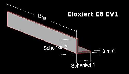 Alu Winkel silber eloxiert E6 EV1; 50 x 50 x 3 mm; Aluprofil L Profil Aluminiumprofil Winkelprofil ... (150 cm)