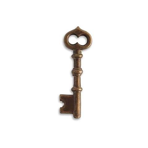 Vintaj Natural Brass Ornate Skeleton Key Pendant 43mm
