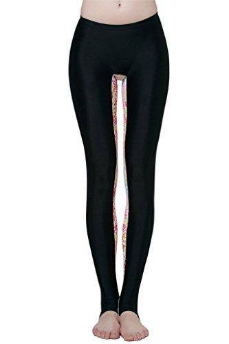 Schwimm Leggings Damen UV Schutz Schwimmhose Hose Bademode , Farbe-Floral Schwarz - (Floral Strumpfhose Design)