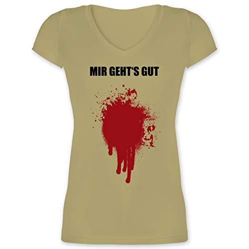 's gut Blutfleck Kostüm - XS - Olivgrün - XO1525 - Damen T-Shirt mit V-Ausschnitt ()