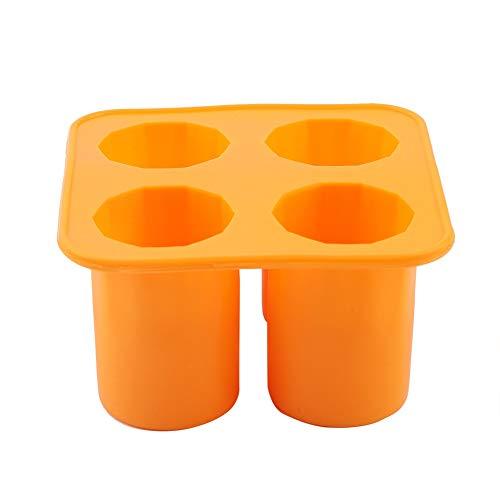 Eis am Stiel Formen Silikon Eiswürfelschale Einfrieren Formenbauer Werkzeuge Club Bar Party Trinken Form(Orange)