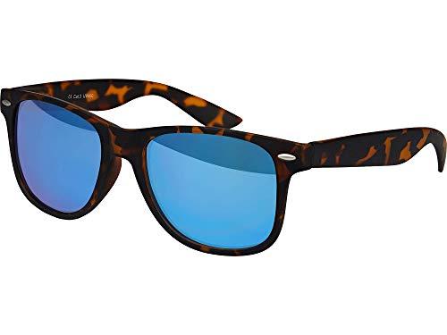 Balinco Hochwertige Nerd Sonnenbrille Rubber Retro Vintage Unisex Brille mit Federscharnier - 101 verschiedene Farben/Modelle wählbar (Leo - Blau verspiegelt)