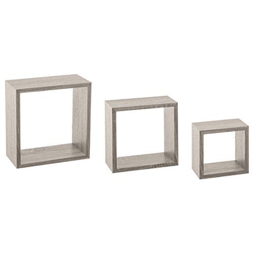 Atmosphera, créateur d'intérieur Kit de 3 étagères murales Cube chêne Gris