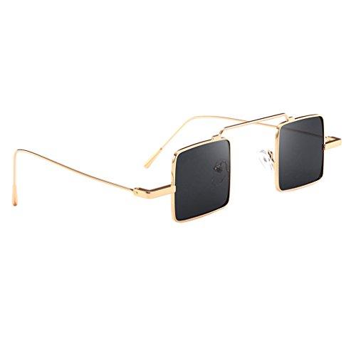 Unbekannt Sharplace Vintage Sonnenbrille quadratisches Design Retro Brille - Goldrahmen Graue Linse