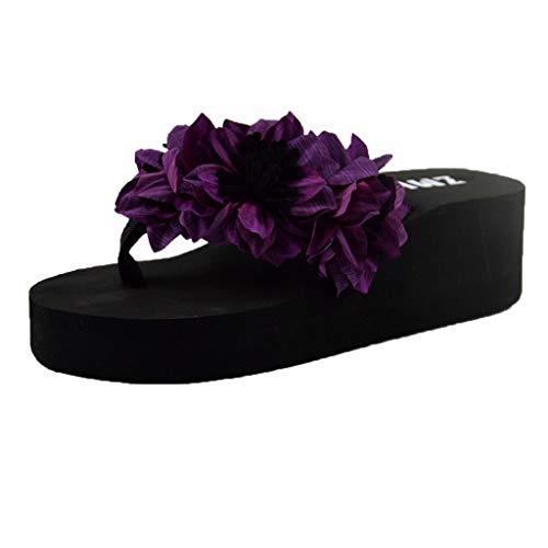 COZOCO Frauen Elegant Böhmen Blumen Muffin Wedge Hausschuhe Sandalen Home Bad Strand Flip Flops Schuhe