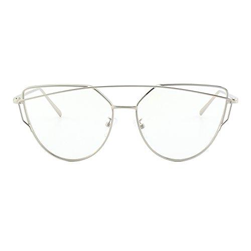 CGID MJ74 Lunettes de soleil polarisées cateye modernes et fashion réfléchissantes UV400 pour femmes Argenté Transparent