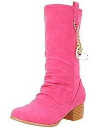 AllhqFashion Damen Mittler Absatz Rund Zehe Nubukleder Ziehen auf Stiefel, Pink, 33