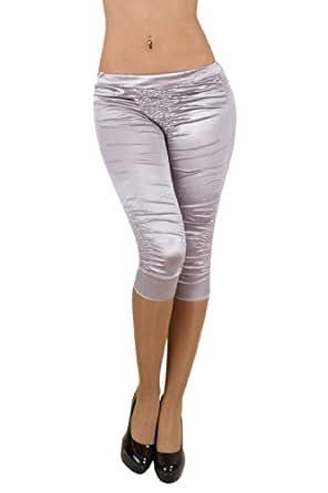 5914 Fashion4Young Damen Eng anliegende Capri Leggings Satin Hose verfügbar in 8 Farben Gr. 34/36 (34/36, Cinder)