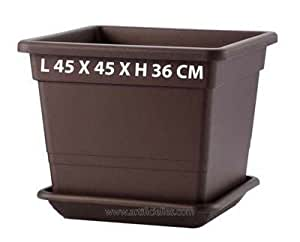 Artificielles - Pot cubito plastique injecte l 45 x 45 x h 36 cm bronze int/ext - choisissez vos taille et couleur: pot l 45 x 45 x h 36 cm bronze