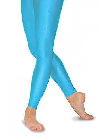 Leggings/collants sans pieds en nylon Lycra pour filles 8couleurs Bleu martin-pêcheur, 6-8ans