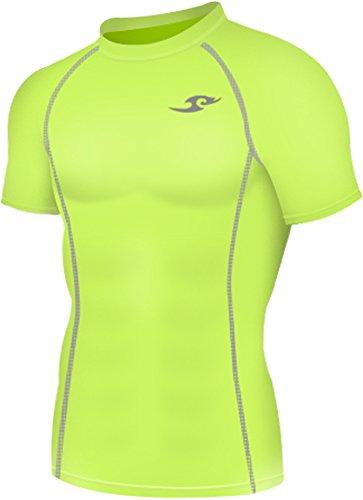 new-130-cm-colore-verde-neon-calzamaglia-strato-base-a-compressione-da-uomo-a-maniche-corte