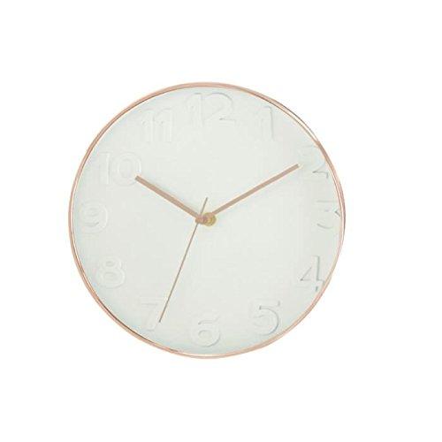 THE HOME DECO FACTORY HD3305 Horloge Ronde PP Blanc/Cuivre 30,70 x 4,50 x 30,70 cm