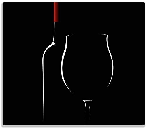 latte/Spritzschutz aus Glas, 1-teilig, 60x52cm, für Ceran- und Induktionsherde, Rotwein bei Nacht ()