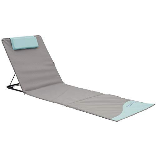 Meerweh Strandmatte XXL gepolstert Badematte Strandliege faltbar inkl. Kopfkissen grau/blau, ca. 200 x 60 cm -