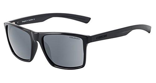 Dirty Dog Volcano Wayfarer fahren Sonnenbrille in Schwarz mit Grau Polarisiert Objektiv