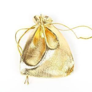 10 x Quality Gold Lame shiny gift organza jewellery pouches 10cm x 9cm posted from London by Fat-catz