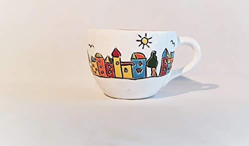 Tasse bauchig in weiß mit Motiv Stadt/Keramik/Höhe ca. 9,5cm/Durchmesser ca. 12,5cm/Inhalt ca. 550ml - Keramik-9.5