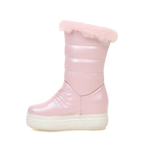 AgooLar Damen Rund Zehe Hoher Absatz Ziehen auf Mitte-Spitze Stiefel, Pink, 39