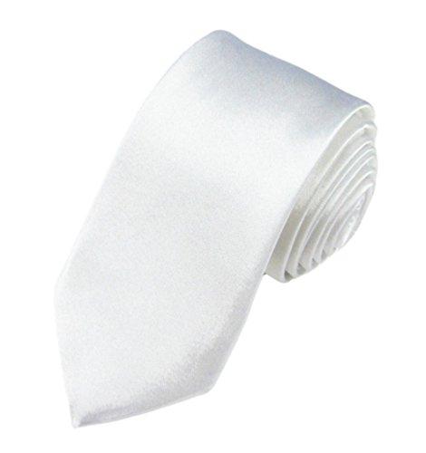 WS schmale dünne KRAWATTE Business Slim Tie Schlips schmal (weiß)