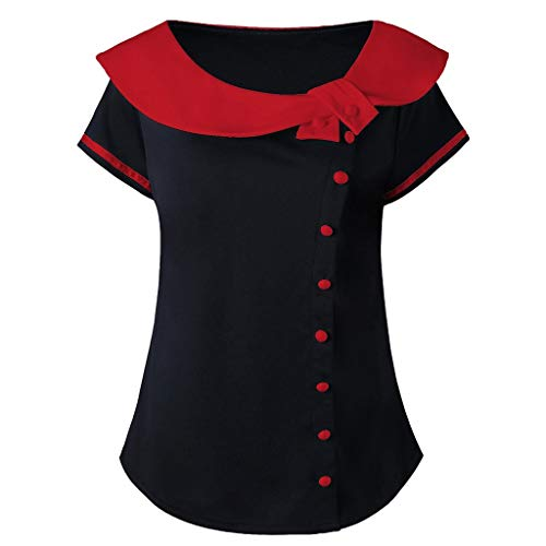 VEMOW Sommer Oberteile Elegante Damenmode Frauen Kurzarm Plus Größe Hemd Zwei Ton Peter Pan Kragen T-Shirt Tops Tank Tops(Rot, EU-46/CN-4XL)