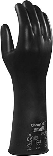 Ansell ChemTek 38-628 Butyl/Viton Handschuhe, Chemikalien- und Flüssigkeitsschutz, Schwarz, Größe 10 (1 Paar pro Beutel)