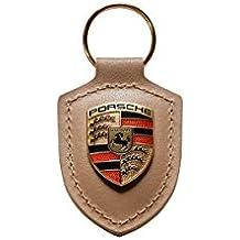 Original Porsche Porte-Clés Cuir Beige avec Armoiries Logo en Métal,  WAP0500980H 1ad847d9af7