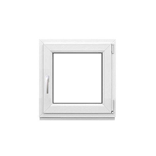 Kunststofffenster weiß Breite 50 cm mit Dreh-Kipp Beschlag Fenster einflügelig rechts angeschlagen Aluplast (Höhe 50 cm rechts)