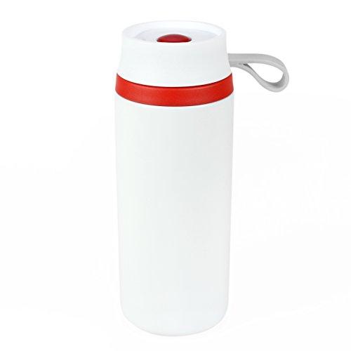Styletec doppelwandiger Isolierbecher/Thermobecher/Kaffeebecher to go mit Drucktaste - auslaufsicher (rot-weiß)