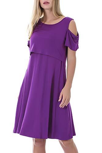 Smallshow Stillkleid Umstandsmode Tshirt Kleid Umstandskleid Kurzarm 2in1 Sommerkleid Damen Umstands Kalte Schultern, Lila, S