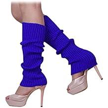 Calentadores de pierna - SODIAL(R)Calentadores de pierna sin pies tejidos de Color solido de mujer Azul