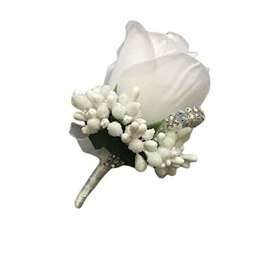 utonniere Herren Ansteckblume Hochzeit Boutonnière Anstecknadel Hochzeit Braut Boutonniere Weiß 11 * 7CM ()