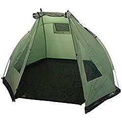 Mountain Warehouse Abri de pêche - Tente de Plage UV40 +, résistante à l'eau - Large Ouverture sur Le Devant - Idéal pour la pêche de Jour et de Nuit Kaki Taille Unique