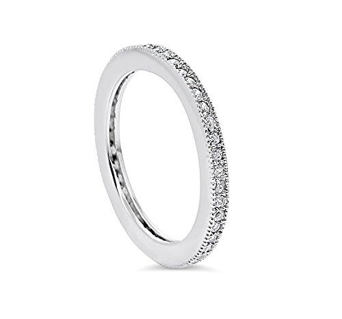 Anello a veretta Full Eternity da donna, per matrimonio o fidanzamento, in argento Sterling 925 certificato nel Regno Unito, placcato in oro bianco, con diamanti sintetici di laboratorio, spessore 2 mm, Argento, 16, cod. SR2008_P