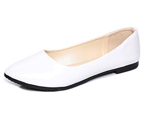 Minetom Donne Elegante Pu Pelle Scarpe Piatte Estate Primavera Autunno Casuale Danza Scarpe Bianco