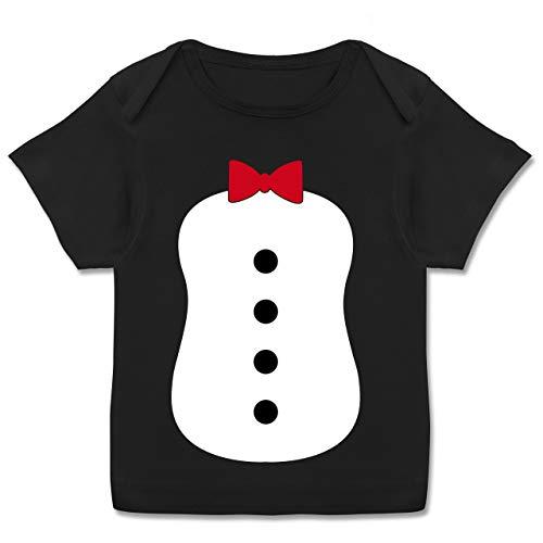 Kostüm Monate Pinguin 18 - Karneval und Fasching Baby - Pinguin Karneval Kostüm - 80-86 (18 Monate) - Schwarz - E110B - Kurzarm Baby-Shirt für Jungen und Mädchen