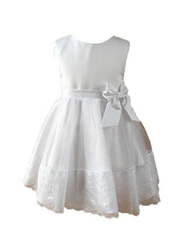 Miss Cocolina Taufkleid Weiß Festkleid Sommer Kleid Hochzeitskleid aus Baumwolle (12-18 Monate)