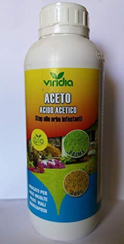 viridia aceto concentrato disserbante naturale biologico, dissecante con acido acetico 1000 ml effetto diserbante biologico made in italy per aree incolte, prati viali,marciapiedi