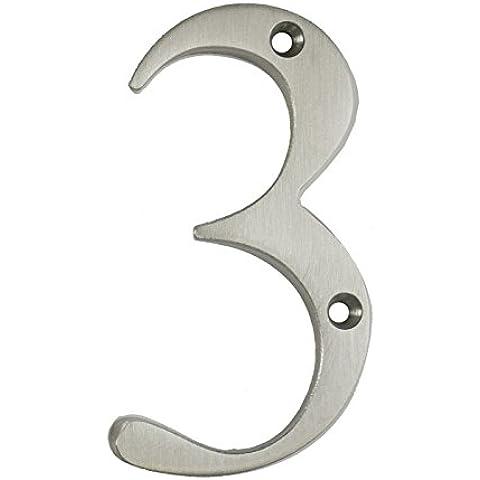 3inch sottile costiere Porta numero, colore: argento satinato porta numero 3–Non Pit o ruggine anche a la costa