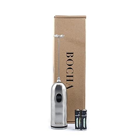 BOCHA – Edelstahl Milchaufschäumer, Hand-Elektro Mit Doppelter Geschwindigkeit Und Batterien