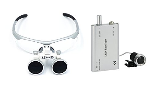 NEW DENTAL SURGICAL BINOCULAR LOUPES OPTICAL GLASS LOUPE 3 5X420MM WITH FREE LED HEAD LIGHT LAMP SOLD BY TT DENTAL(SILVER)