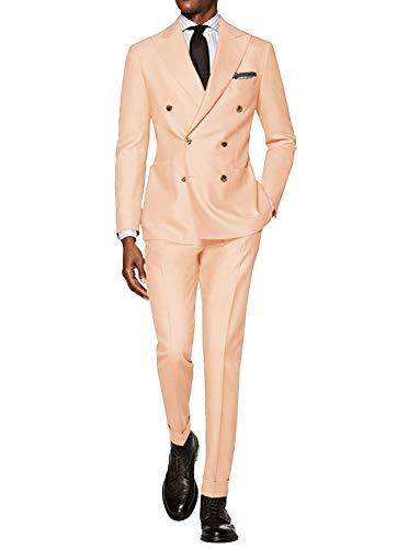 CALVINSUIT Herren Anzug 2 teilig zweireihig Spitzenrevers Business Hochzeits Smoking