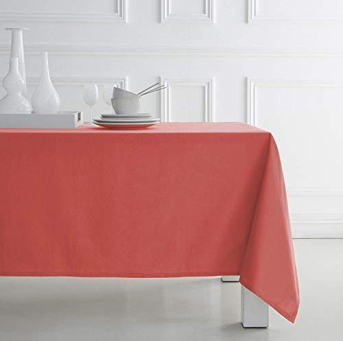 Top Shop Today 257531 Tischdecke aus 100% Baumwolle für Haus Küche, Maße 140 x 240 cm, Koralle