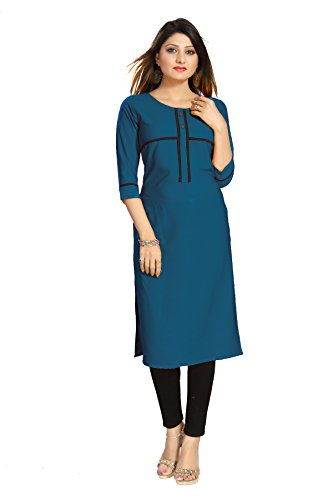 ALC Creation Women's Straight Kurta (ALC2070NAVY_Teal_x-large)