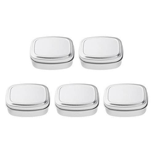 l Silber Metalldose Rechteckige Leere Scharnierdosen Box Container Mini Portable Box Kleine Storage Kit, Home Organizer ()